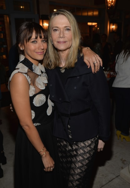 LOS ANGELES, CA - MARCH 28:  Actress Rashida Jones (L) and mom Peggy Lipton attend a reception to celebrate Rashida Jones' New Glamour Column hosted by Cindi Leive and Jane Buckingham at arivate residence on March 28, 2014 in Los Angeles, California.  (Photo by Michael Buckner/Getty Images for Glamour)