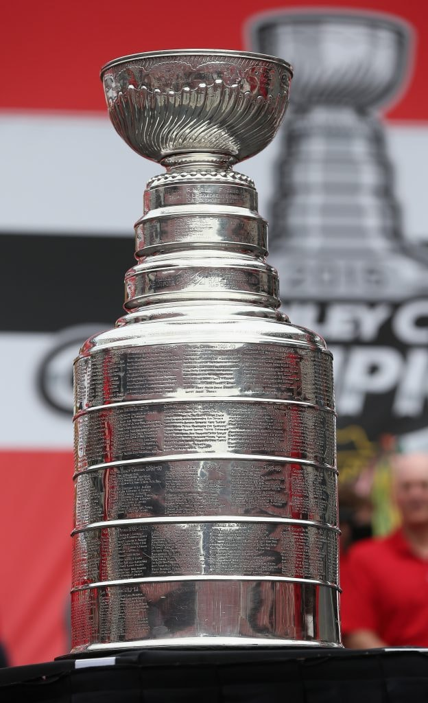 CHICAGO, IL - JUNE 18: The Stanley Cup trophy sits on display during the Chicago Blackhawks Stanley Cup Championship Rally at Soldier Field on June 18, 2015 in Chicago, Illinois.